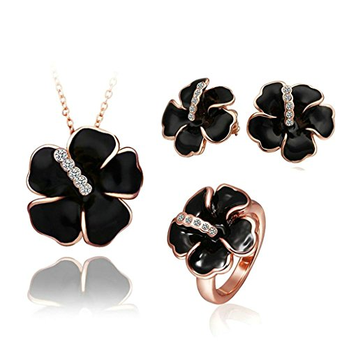 [Gnzoe Jewelry, Gold Plated Women Earrings Necklace Crystal Inlaid CZ Jewelry Set] (Dog Ear Costume Template)
