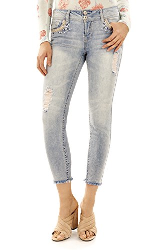 WallFlower Women's Juniors Luscious Curvy Bling Ankle Skinny Jeans in Chance, - Pants Jeans Rhinestone