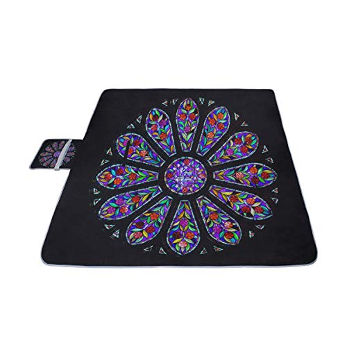 MBVFD Rosette Stained Glass Window Picnic Mat 57''(144cm) x79''(200cm) Picnic Blanket Beach Mat with Waterproof for Kids Picnic Beaches and Outdoor Folded Bag