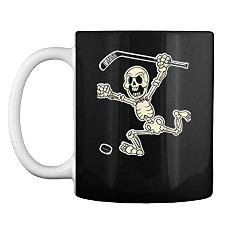 Skeleton with Hockey Stick amp Puck Halloween Costume Mug Coffee Mug (White, 11 oz)