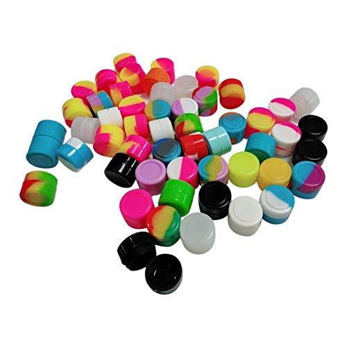 Gentcy Silicone 2ml 100pcs Silicon ContainersJar Seals Oil Wax Concentrate 13Color ()