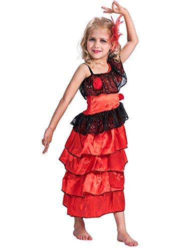Halloween Costumes Flamenco Dancer (FantastCostume Girl's Flamenco Dancer Fancy Princess Dress(Red, Large))