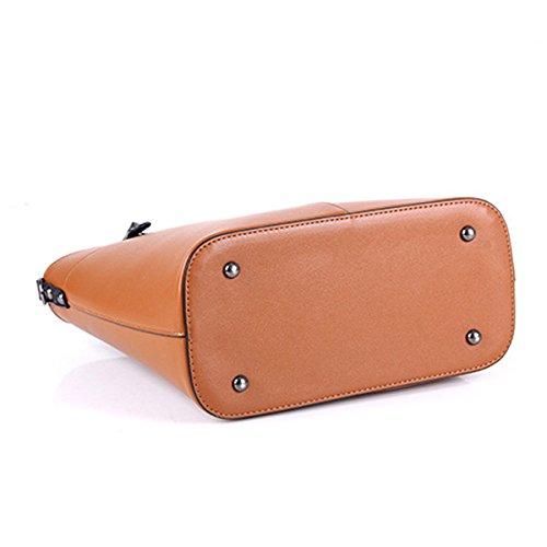 Main à Sacs épaule Main Business Brown PU élégant 3Pcs Femmes Zipper à Sacs élégante 47wq6E