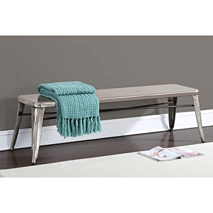 Amazoncom Home Tabouret Gunmetal 60 Inch Indoor Bench Grey Silver