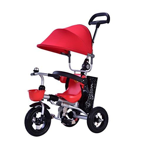 6 Meses - 6 Años de Acero Inoxidable plegable Triciclo de Bebé para Niños, Altura ajustable Manija de Empuje Portátil...