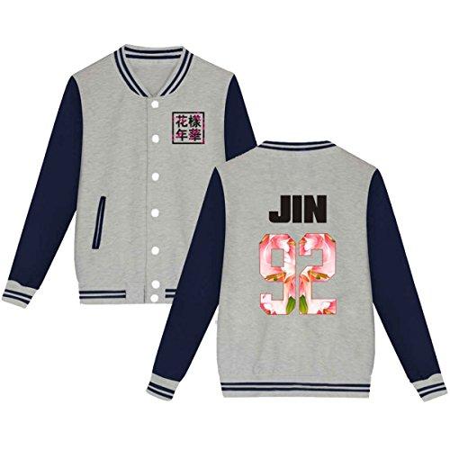 BTS Baseball Jacket Uniform Bangtan Boys Suga Jin Jimin Jung Kook Sweater Coat L Gray JIN