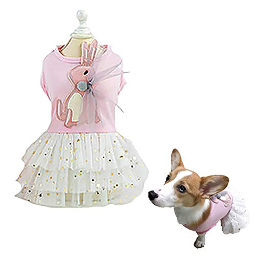 Petea Dog Dress Glitter Star Moon Sequins Gauze Tutu Dog Dress Vest Apparel Skirt Clothes Pet Puppy Bowknot Birthday…