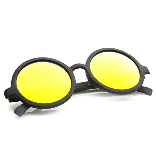 zeroUV - Classic Lennon Style Flash Mirror Lens Circle Round Sunglasses (Black - Circle Usa Lens