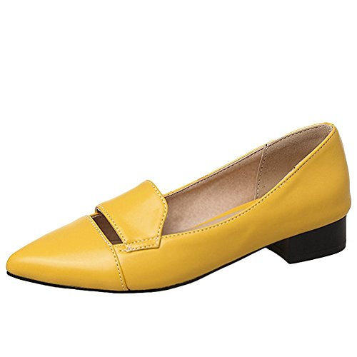 Carolbar Women's Solid Color Concise Mid Heel Pointed Toe Loafer Court Shoes Yellow RxaCuM