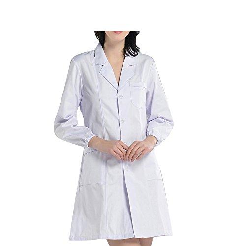 BSTT Women Lab Coat White Medical Uniforms Scrubs 2018 New Improvement Elastic Sleeves Thin XL (Nursing Cotton Coat)