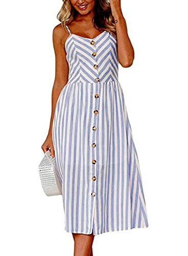588dc1afa9a ZESICA Women s Summer Striped Spaghetti Strap Button Down Swing Midi Dress  with Pockets