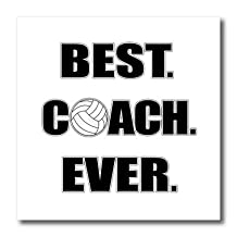 3dRose Volleyball-BestCoachEver Iron on Heat Transfer, 10 by 10-Inch, for White Material (ht_195231_3)