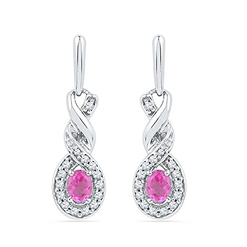 (Twist Created Pink Sapphire Earrings Genuine Diamond Accents 10k White Gold)