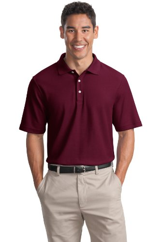 (Cotton Pique Knit Sport Shirt, Color: Maroon, Size: Large)