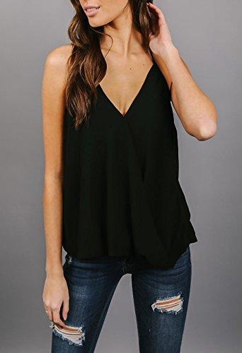 Halterneck Chiffon V Senza Schienale Collo Donna Top Bluse Shirts Canotte Casual Irregolare Unita Camicetta Camicie Estivi Sexy Nero Tinta wX74qAwP