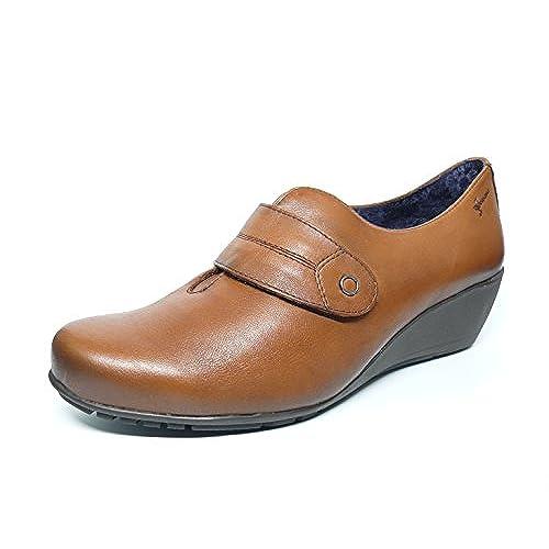 3f2304f34ad Lovely Zapatos cuña mujer DORKING-FLUCHOS - Piel color Cuero cierre velcro  - 6573 -