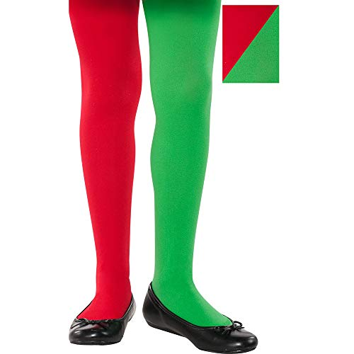 Christmas Green And Red Elf Tights | Party Costume ()