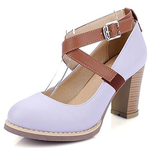 Pumps Classic Chunky Strap Buckled Cross Purple High Heels Womens Shoes Easemax 48nqxAw