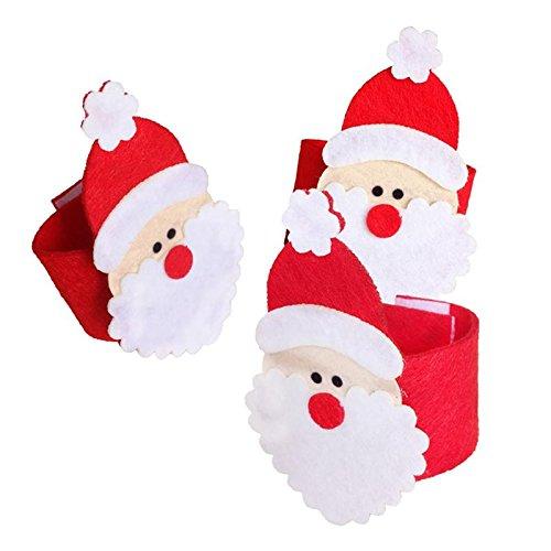 funnytoday365 4点/セットクリスマスサンタクロースナプキンリング不織布紙ナプキンホルダーかわいいテーブルウェアBanquet Dinnerクリスマスの装飾ホーム   B07BH1C2JY
