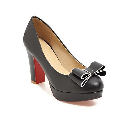 MEI&S Talon Bloc Femmes Talons Chaussures Bouche Peu Profonde à Tête Ronde Black VSkI63AT
