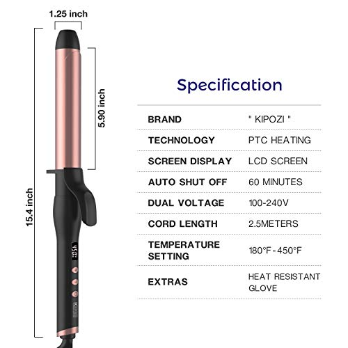 KIPOZI 1 1 4 Inch Curling Iron Hair Curler with Ceramic Coating Barrel and Anti-scalding Insulated Tip,180 F to 450 F for All Types of Hair, Dual Voltage, Include Heat Resistant Glove