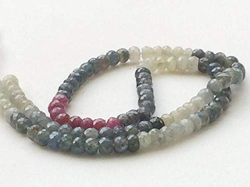 KALISA GEMS Beads Gemstone 1 Strand Natural Multi Sapphire Faceted Rondelles, Multi Sapphire Necklace, 5mm, 7 Inch