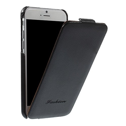 "Apple iPhone 6 6S 4.7"" Flip Case Litchi Texture Echt Leder Klapp Etui Schwarz"