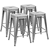 "Cheap Devoko Metal Bar Stools 24"" Indoor Outdoor Stackable Barstools Modern Industrial Vintage Silver Counter Bar Stools Set of 4 (Silver)"