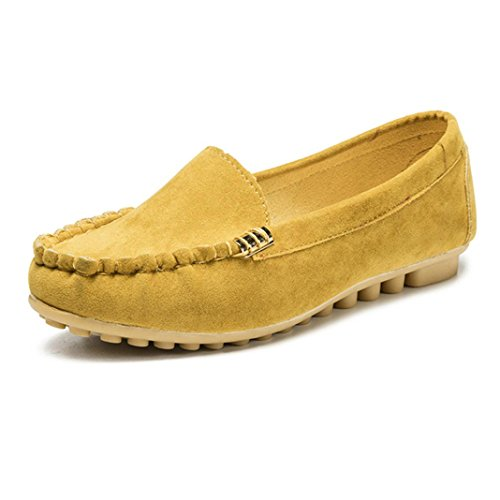 Transer Ladies Leisure Flats Shoes, Women Slip On Comfy Casual Work Loafers Lazy Shoes Yellow
