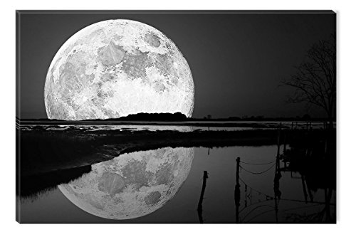 Startonight Canvas Wall Art Black and White Abstract Full Moon on the Water Landscape, Dual View Surprise Artwork Modern Framed Ready to Hang Wall Art 100% Original Art Painting 31.5 x 47.2 inch by Startonight