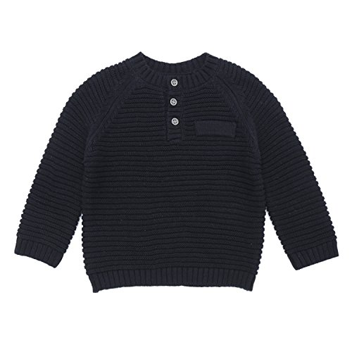 (DOYOMODA Spring Baby Boy Crew Neck Cable Pullover Button Down Sweater (9M, Black))