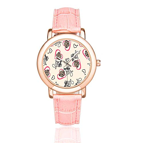 - InterestPrint Women's Rose Golden Watches Bulldog Puppy Hearts Pink Leather Band Waterproof Wrist Watch