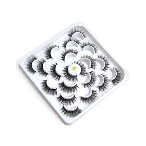 10 Pairs Lotus Discs 3D/5D Mink Hair False Eyelashes Natural Thick Eyelashes Hand Made Natural Long Faux Mink Lashes Makeup Tool,3D110]()