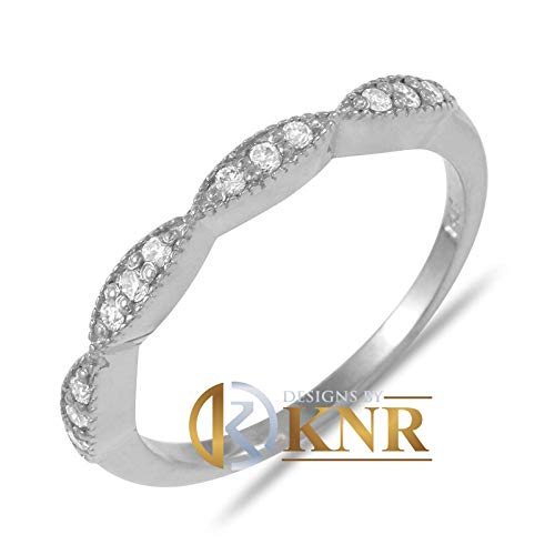 Filigree Style 14K Solid White, Yellow, or Rose Gold Round Cut Simulated Diamonds Band, Engagement Ring Wedding Bridal Anniversary ()