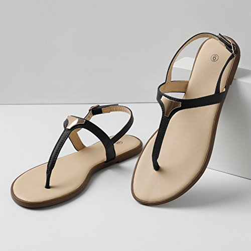 0d9e1dacd07 Rekayla Flat Thong Ankle Strap Sandals with Fashion Triangle Metal for Women  Black 08