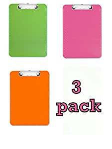 3-pack Transparent Plastic Clipboard, Flat Clip, 9X12x7/64, Neon Orange,Neon Pink and Neon Green