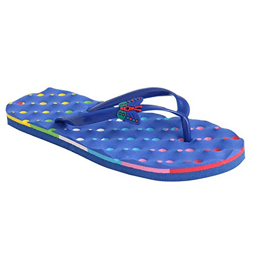 7f0e32861c34 HD Women s Embossing Latest Casual Flip Flops for and Girls  (Flat Dane Blue36) Blue