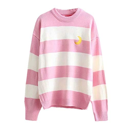 Packitcute Striped Knitted Sweater, Long Sleeve Moon Embroidery Cute Sweaters for Women (Pink) ()