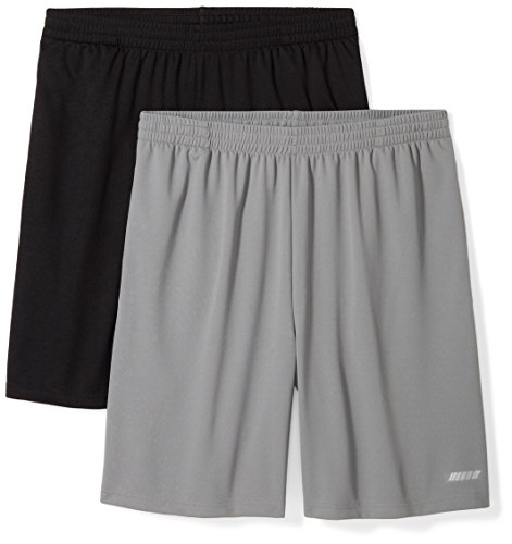 Amazon Essentials Men's 2-Pack Loose-Fit Performance Shorts, Black/Medium Grey, X-Large from Amazon Essentials