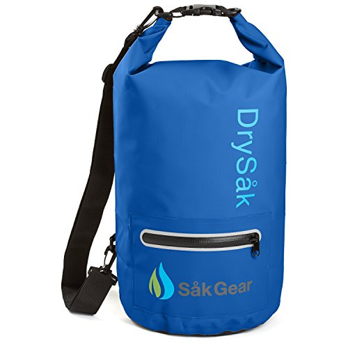 DrySak Premium Waterproof Dry Bag with Exterior Zip Pocket | Keeps Gear Safe & Dry During Watersports & Outdoor Activities | Rugged 500D PVC with Shoulder Strap & Reflective Trim | 20L Navy Blue