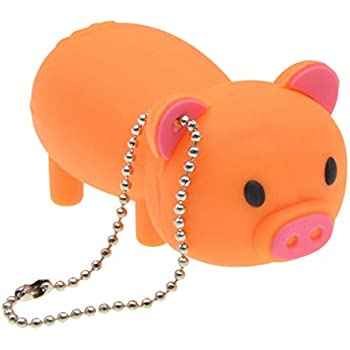 16GB USB 2.0 Flash Drive - Cartoon Animal Pig Thumb Drive - FEBNISCTE Memory Stick for Data Storage - Orange