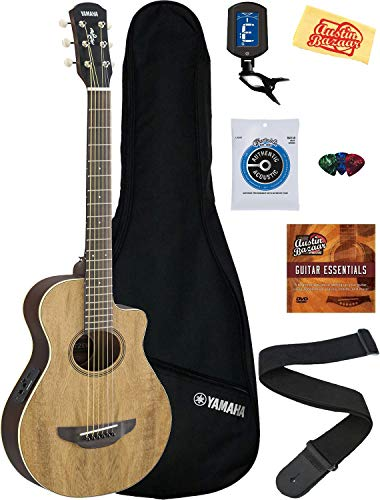 Yamaha APXT2EW 3/4-Size Acoustic-Electric Guitar Bundle with Gig Bag, Clip-on Tuner, Strap, String, Picks, Instructional DVD, and Austin Bazaar Polishing Cloth – Natural