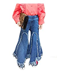 Douhoow Toddler Baby Girls Ripped Wide Leg Denim Jeans Bell Bottom Pants