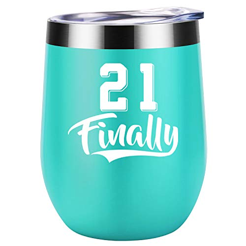 21 Finally - Funny 21st Birthday Gifts for Her, Girls, Daughters, Sisters, Best Friends, BFF - Turning 21 Year Old Birthday Gift - Coolife 12 oz Stainless Steel Insulated Stemless Wine Tumbler Cup (Year 21 Gift For Old)