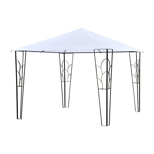 Outsunny 10' x 10' Outdoor Decorative Garden Gazebo Patio Canopy Steel Frame - Cream