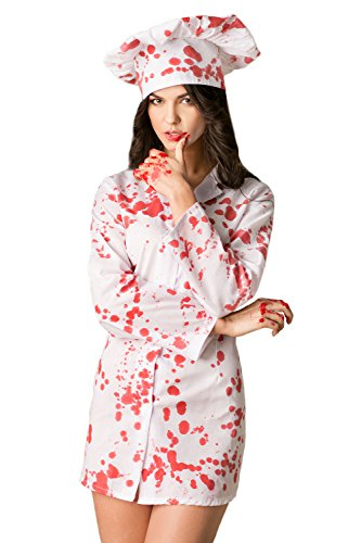 Adult Women Bloody Chef Costume Crazy Lady Cook Blood Shirt Halloween Dress Up (Small/Medium, White, Red)