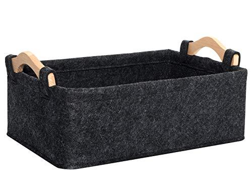 Gray Storage Baskets Narrow Storage Basket Organizer Storage Bins for Living Room Kitchen Playroom Bathroom Toilet Dorm Storage Baskets Decorative Storage Basket Large
