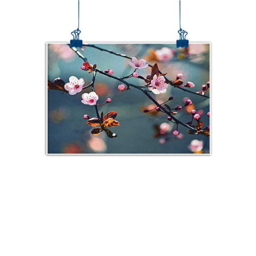 Wine Cherry Hill Bar (Canvas Prints Wall Art Nature,Japanese Blooming Cherry Tree Flowers on Branch Sakura Theme Picture,Light Pink Orange and Blue 48