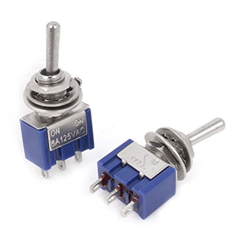 Uxcell a14062300ux0276 Blue Mini Toggle Switch, 2 Positions 3-Pin SPDT ON/ON 6 Amp, AC125V, 2 Piece