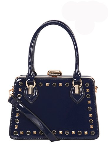 Pattent Diophy Leather PU Stud Medium Shiny Tote Structured Navy qtqrwH5